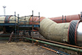 Large diameter fabric expansion joints supplied and installed by Flextra on a copper smelter offgas system